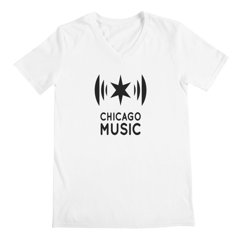 Chicago Music Logo Black Men's V-Neck by Chicago Music's Apparel and Retail Shop