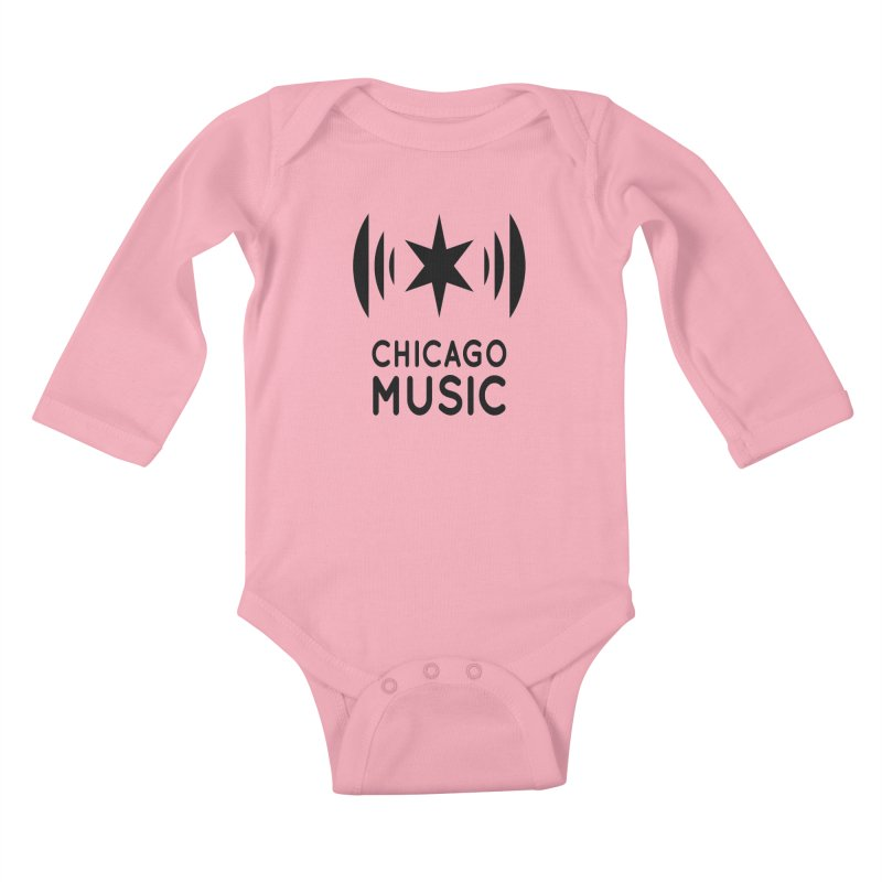 Chicago Music Logo Black Kids Baby Longsleeve Bodysuit by Chicago Music's Apparel and Retail Shop