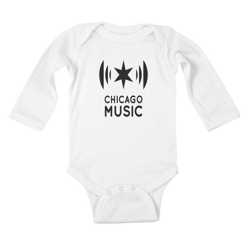 Chicago Music Logo Black Kids Baby Longsleeve Bodysuit by Chicago Music's Artist Shop