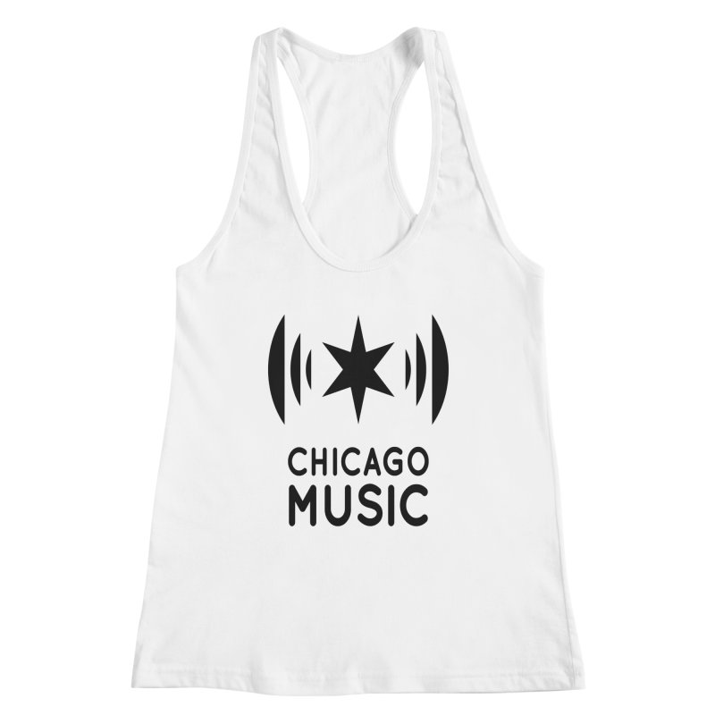 Chicago Music Logo Black Women's Racerback Tank by Chicago Music's Apparel and Retail Shop