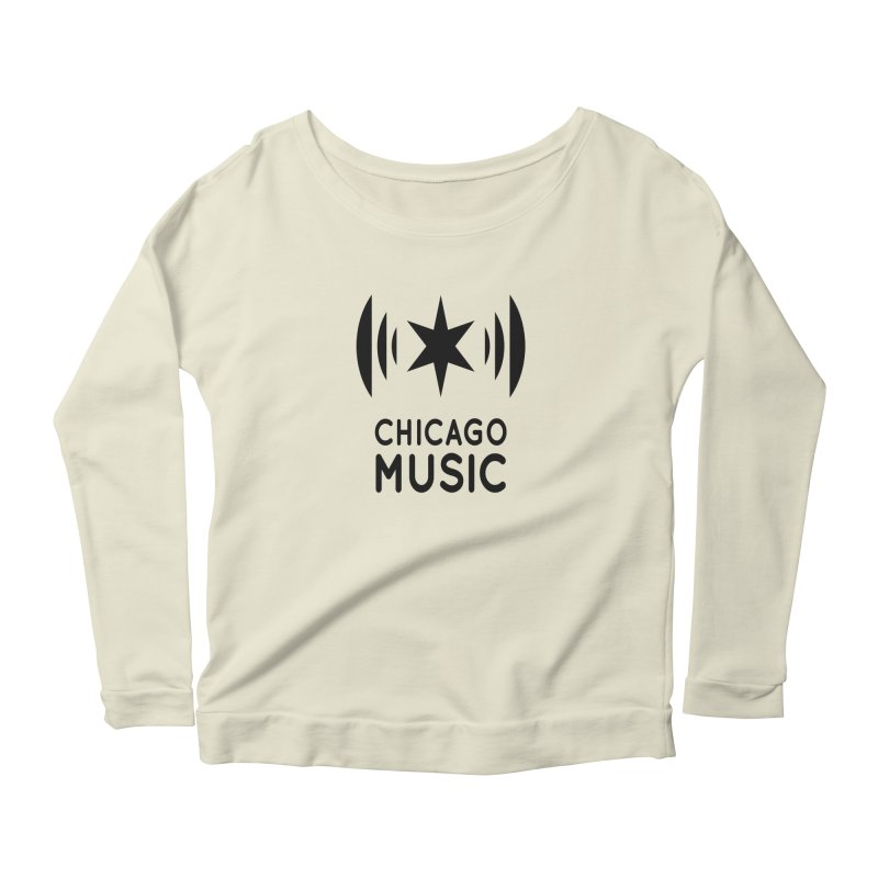 Chicago Music Logo Black Women's Longsleeve Scoopneck  by Chicago Music's Apparel and Retail Shop