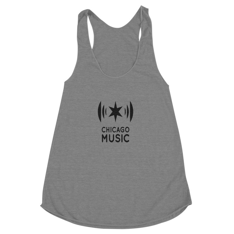 Chicago Music Logo Black Women's Racerback Triblend Tank by Chicago Music's Apparel and Retail Shop