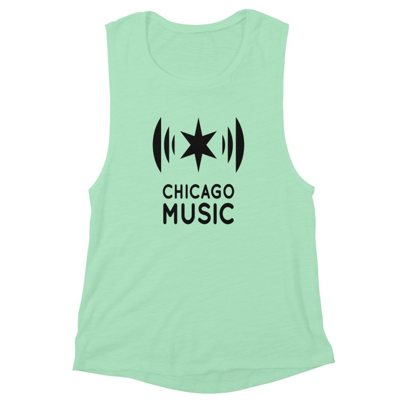 Chicago Music Logo Black Women's Muscle Tank by Chicago Music's Apparel and Retail Shop