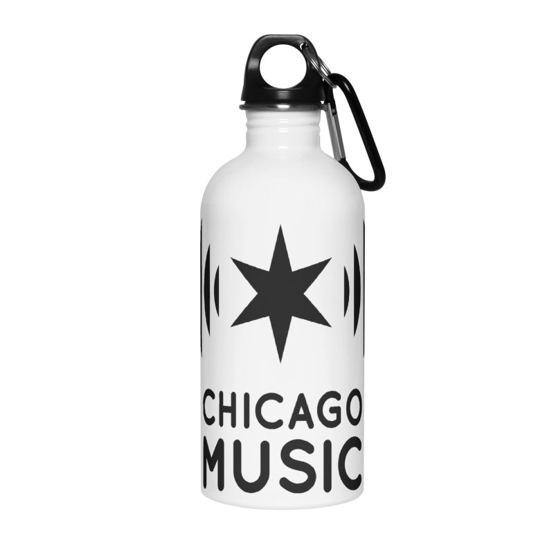 Chicago Music Logo Black Accessories Water Bottle by Chicago Music's Apparel and Retail Shop