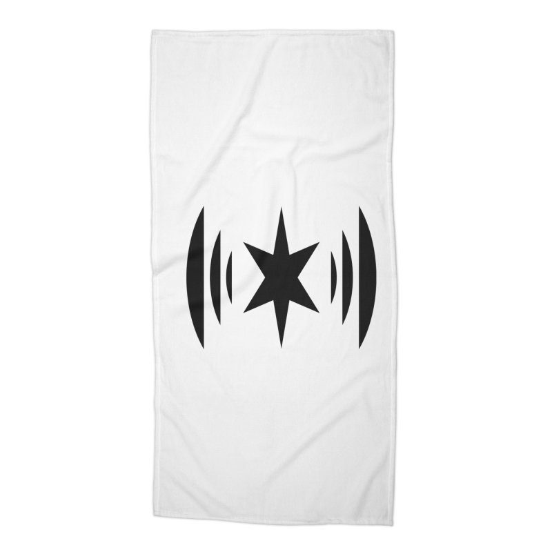 Chicago Music Black Logo Accessories Beach Towel by Chicago Music's Apparel and Retail Shop