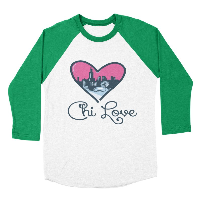 Chi Love Women's Baseball Triblend Longsleeve T-Shirt by Chicago Music's Apparel and Retail Shop