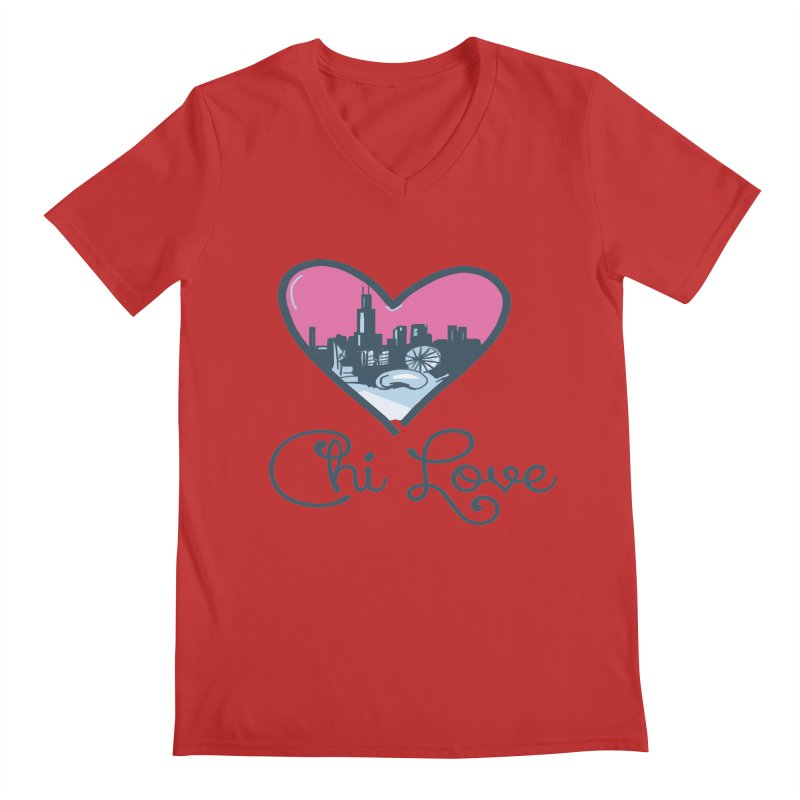 Chi Love Men's Regular V-Neck by Chicago Music's Apparel and Retail Shop