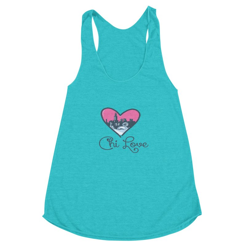 Chi Love Women's Racerback Triblend Tank by Chicago Music's Apparel and Retail Shop