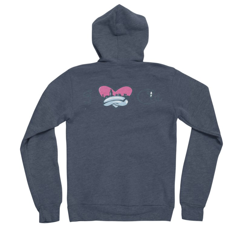 I Love The Chi Women's Sponge Fleece Zip-Up Hoody by Chicago Music's Apparel and Retail Shop