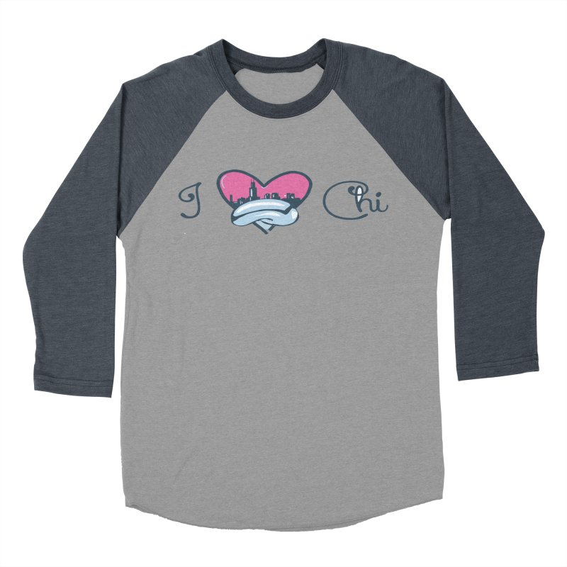 I Love The Chi Women's Baseball Triblend Longsleeve T-Shirt by Chicago Music's Apparel and Retail Shop