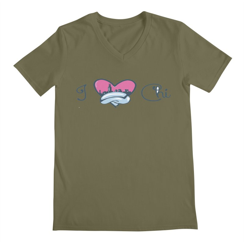 I Love The Chi Men's Regular V-Neck by Chicago Music's Apparel and Retail Shop