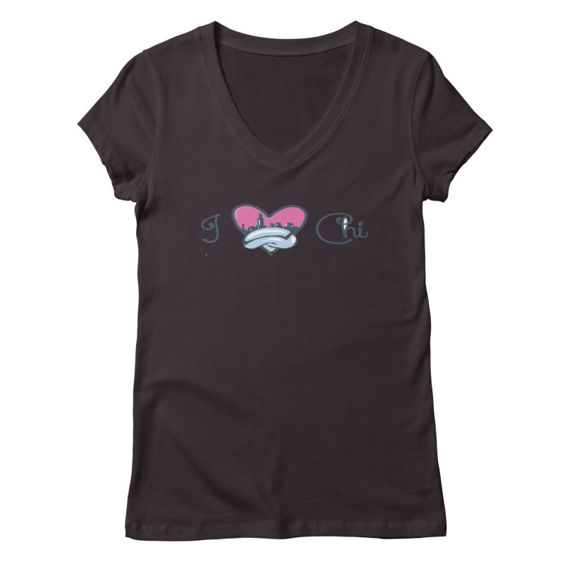 I Love The Chi Women's Regular V-Neck by Chicago Music's Apparel and Retail Shop