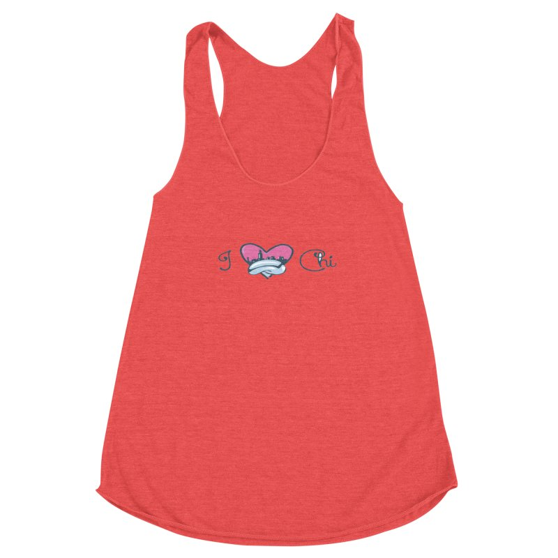 I Love The Chi Women's Racerback Triblend Tank by Chicago Music's Apparel and Retail Shop