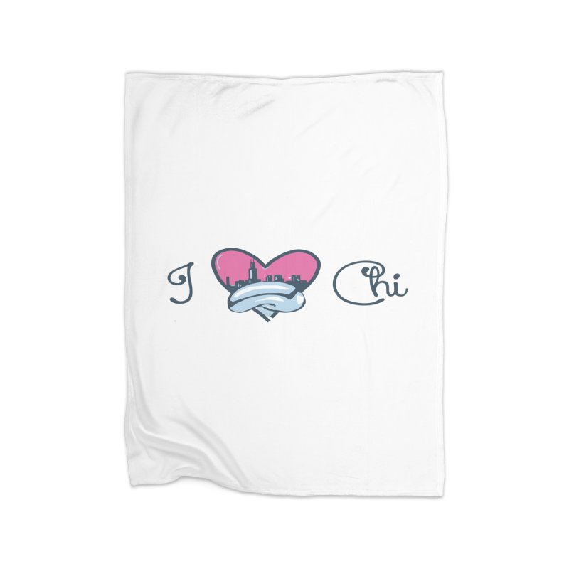 I Love The Chi Home Fleece Blanket Blanket by Chicago Music's Apparel and Retail Shop
