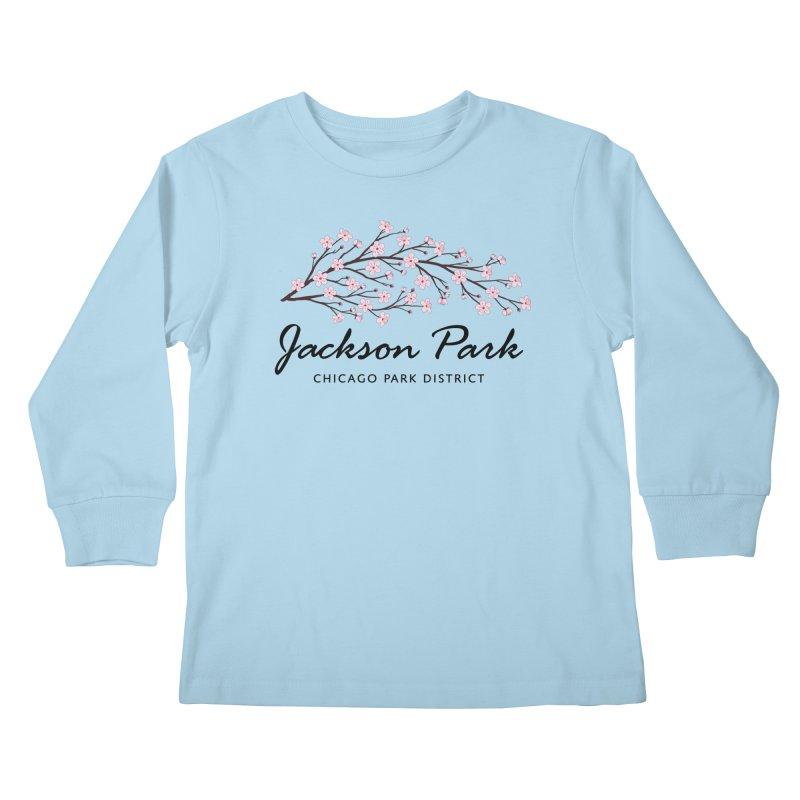 Jackson Park Cherry Blossoms Kids Longsleeve T-Shirt by chicago park district's Artist Shop