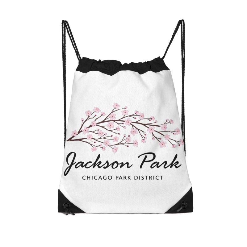 Jackson Park Cherry Blossoms Accessories Drawstring Bag Bag by chicago park district's Artist Shop