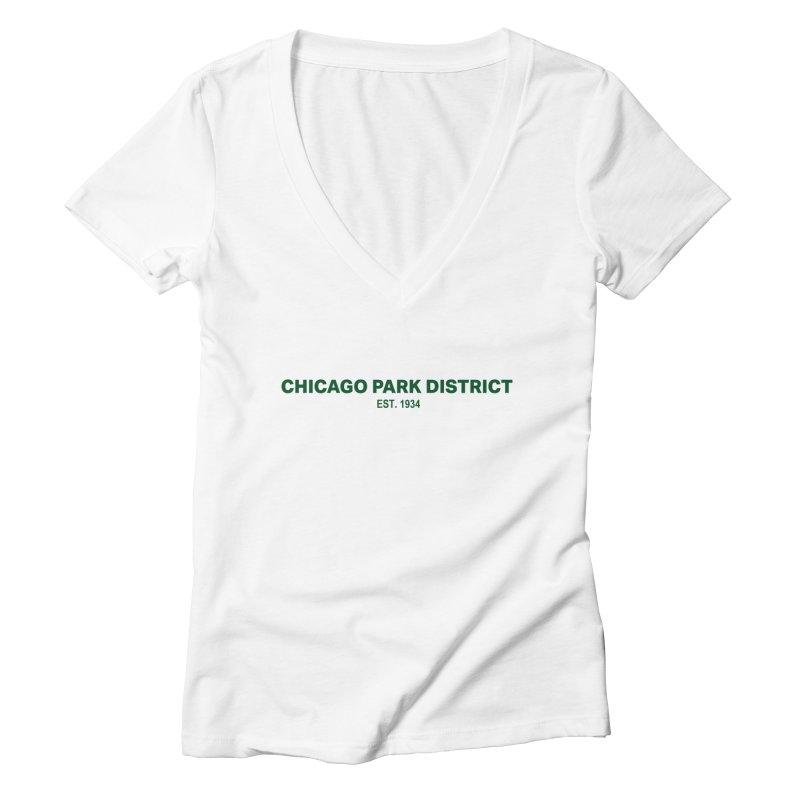 Chicago Park District Established - Green Women's Deep V-Neck V-Neck by chicago park district's Artist Shop