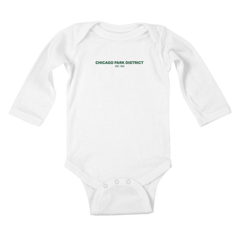 Chicago Park District Established - Green Kids Baby Longsleeve Bodysuit by chicago park district's Artist Shop
