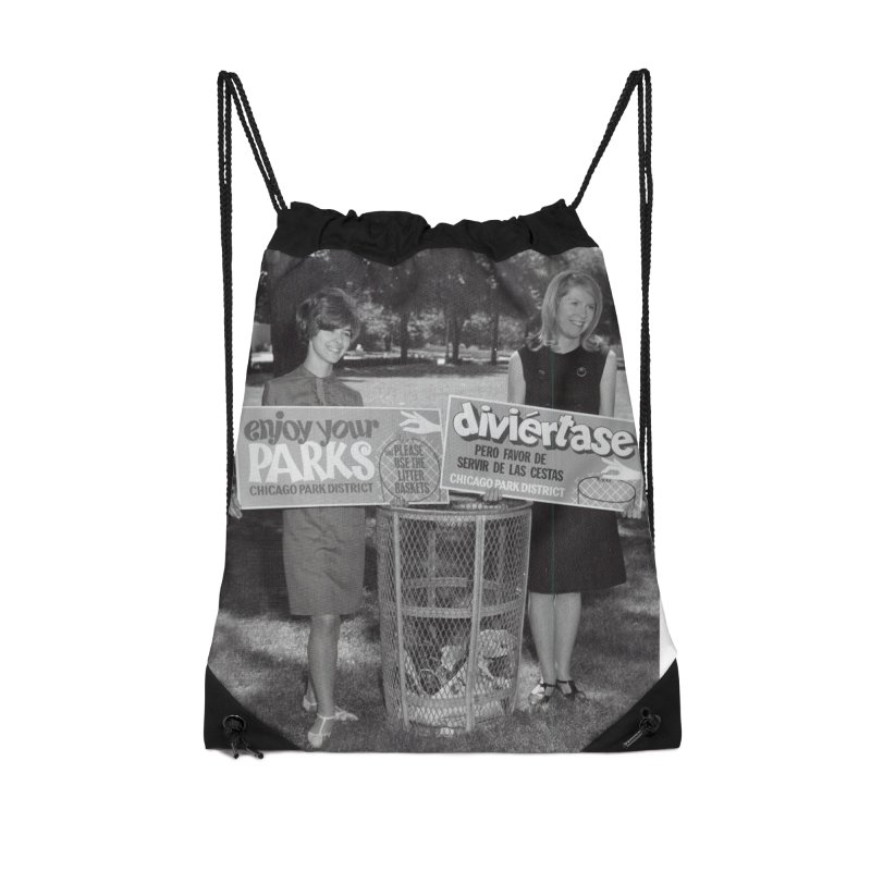 Vintage: 1966 Anti-litter Campaign Accessories Drawstring Bag Bag by chicago park district's Artist Shop