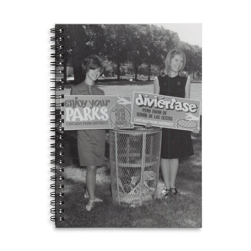 Vintage: 1966 Anti-litter Campaign Accessories Lined Spiral Notebook by chicago park district's Artist Shop