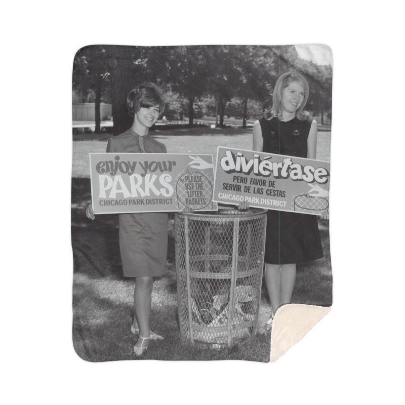 Vintage: 1966 Anti-litter Campaign Home Sherpa Blanket Blanket by chicago park district's Artist Shop