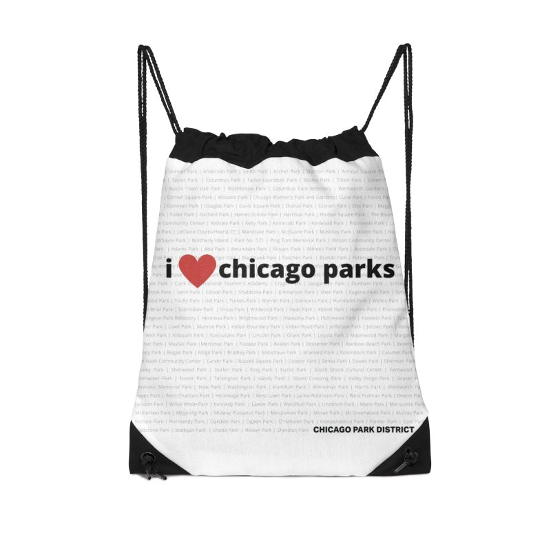 I Heart Chicago Parks Accessories Drawstring Bag Bag by chicago park district's Artist Shop