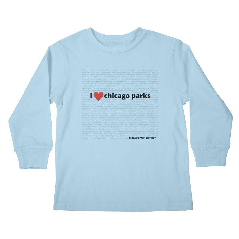 I Heart Chicago Parks Kids Longsleeve T-Shirt by chicago park district's Artist Shop