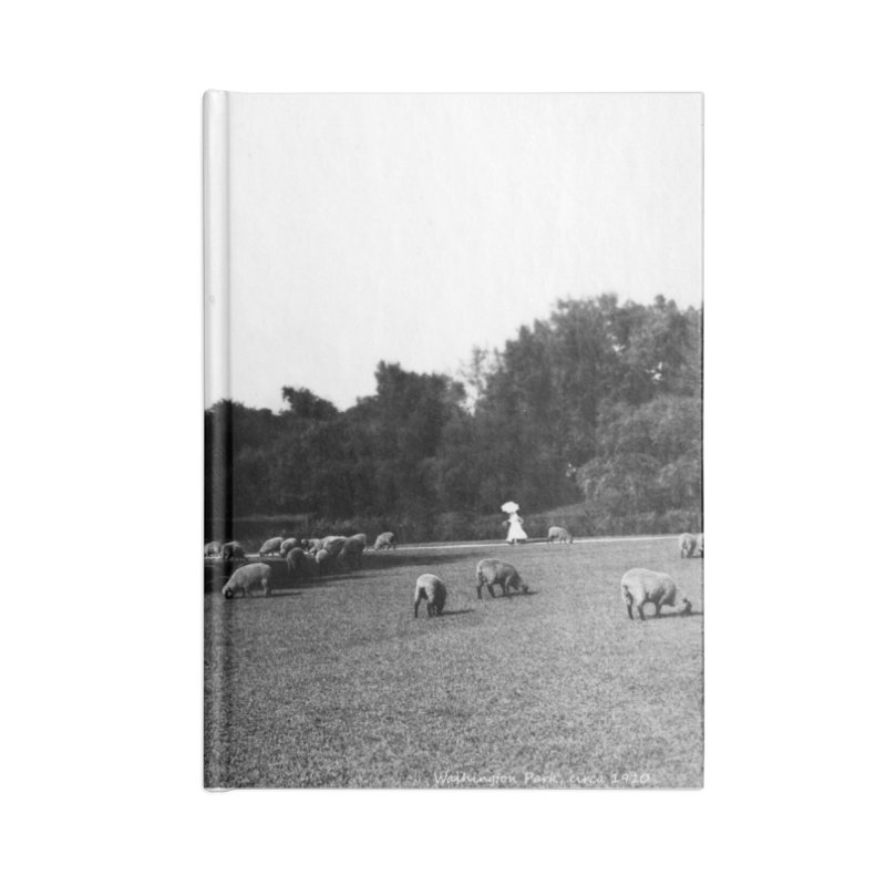 Vintage: Sheep in Washington Park 1906 Accessories Lined Journal Notebook by chicago park district's Artist Shop
