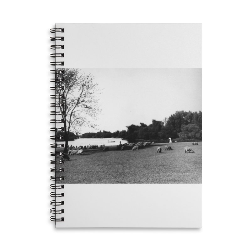 Vintage: Sheep in Washington Park 1906 Accessories Lined Spiral Notebook by chicago park district's Artist Shop