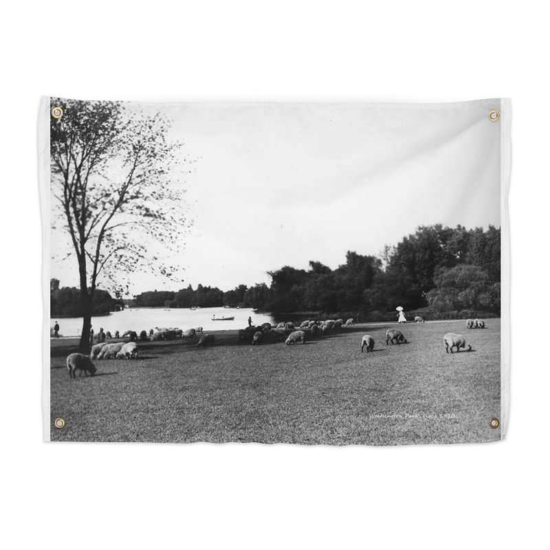 Vintage: Sheep in Washington Park 1906 Home Tapestry by chicago park district's Artist Shop