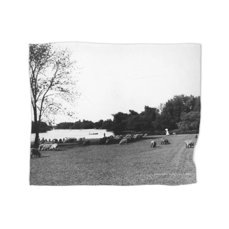 Vintage: Sheep in Washington Park 1906 Home Blanket by chicago park district's Artist Shop