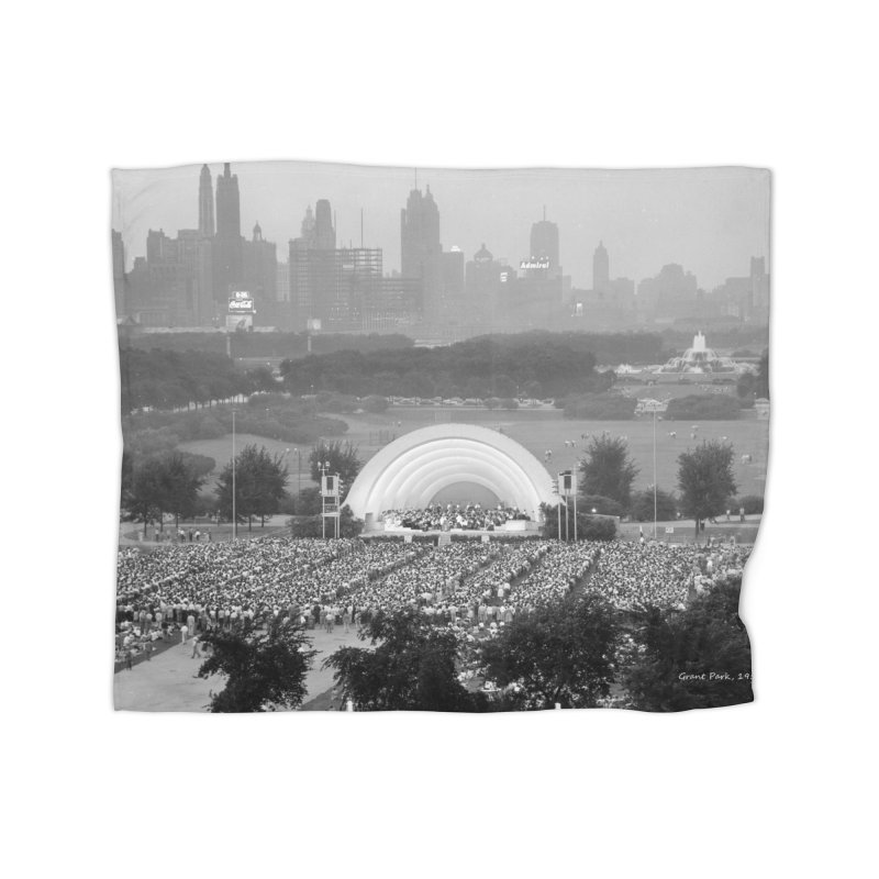 Vintage: Grant Park Concert 1954 Home Fleece Blanket Blanket by chicago park district's Artist Shop