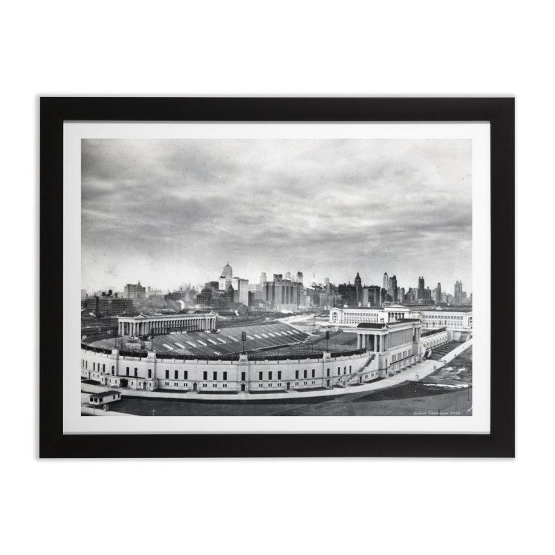 Vintage: Soldier Field circa 1930 in Framed Fine Art Print Black by chicago park district's Artist Shop