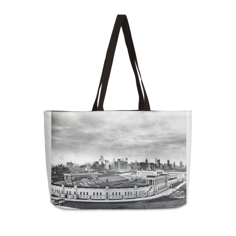 Vintage: Soldier Field circa 1930 Accessories Weekender Bag Bag by chicago park district's Artist Shop
