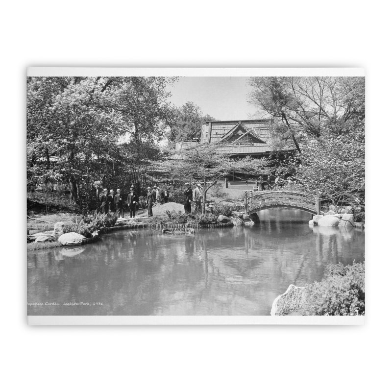 Vintage: Japanese Garden 1936 Home Stretched Canvas by chicago park district's Artist Shop