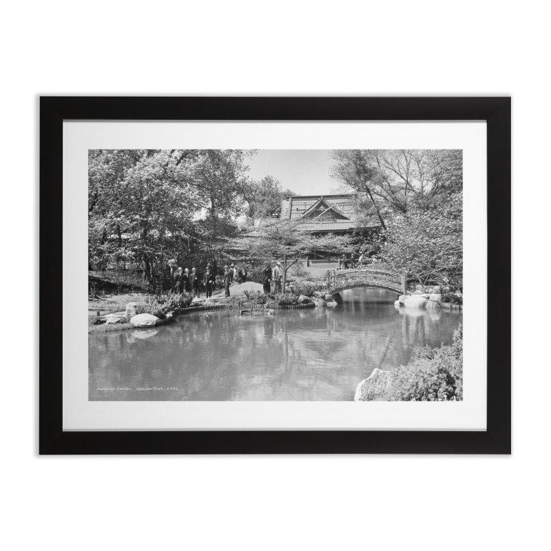 Vintage: Japanese Garden 1936 in Framed Fine Art Print Black by chicago park district's Artist Shop