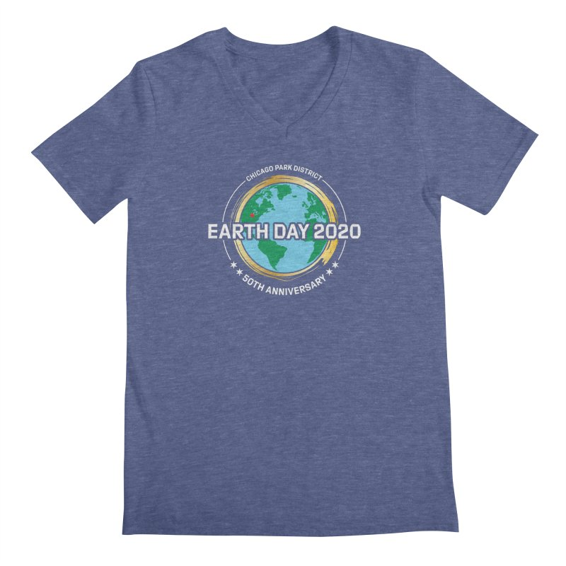 Earth Day 2020 - white text Men's V-Neck by chicago park district's Artist Shop