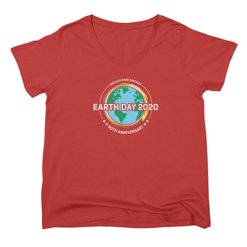 Earth Day 2020 - white text Women's Scoop Neck by chicago park district's Artist Shop