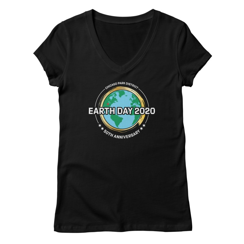 Earth Day 2020 - white text Women's V-Neck by chicago park district's Artist Shop