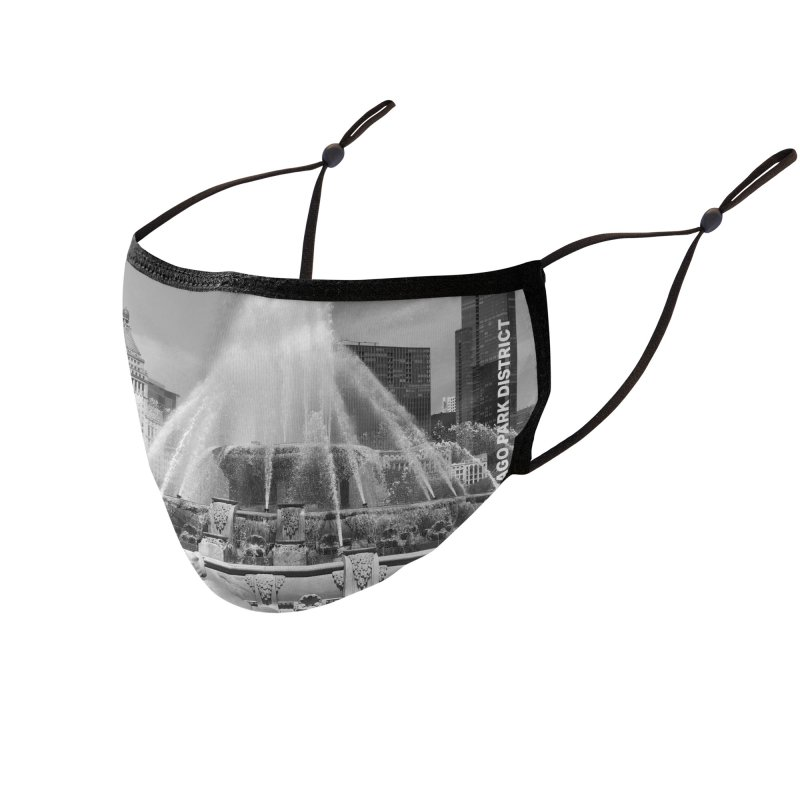 Buckingham Fountain - black & white Accessories Face Mask by chicago park district's Artist Shop