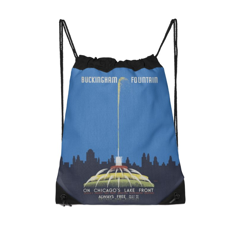 Buckingham Fountain Accessories Drawstring Bag Bag by chicago park district's Artist Shop