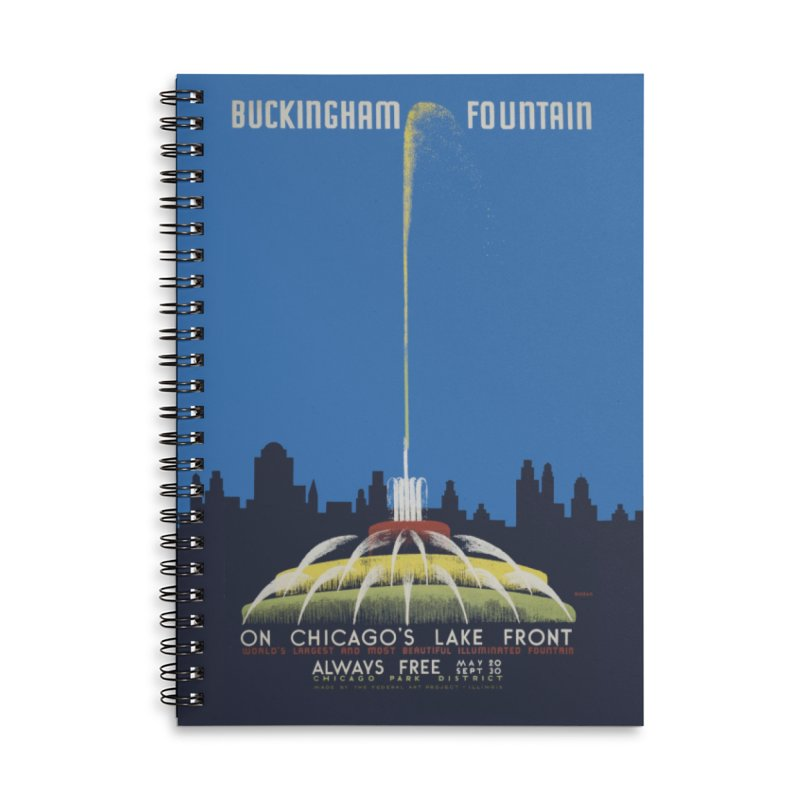 Buckingham Fountain Accessories Lined Spiral Notebook by chicago park district's Artist Shop