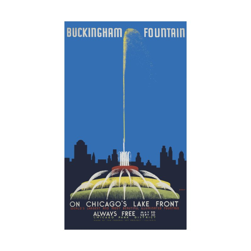 Buckingham Fountain Men's T-Shirt by chicago park district's Artist Shop