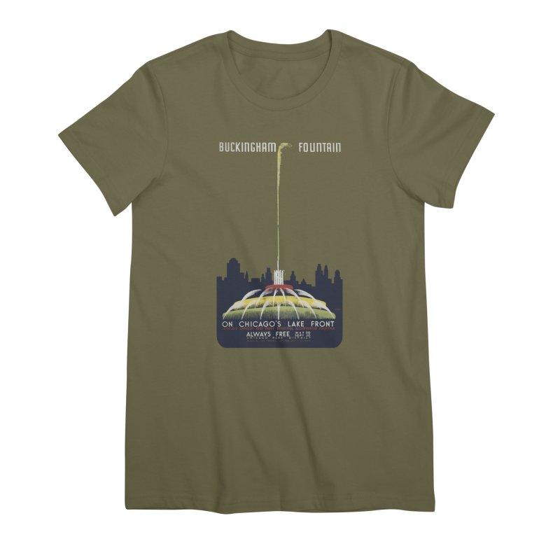 Buckingham Fountain Women's Premium T-Shirt by chicago park district's Artist Shop