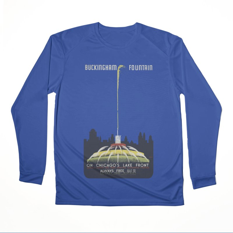 Buckingham Fountain Men's Performance Longsleeve T-Shirt by chicago park district's Artist Shop