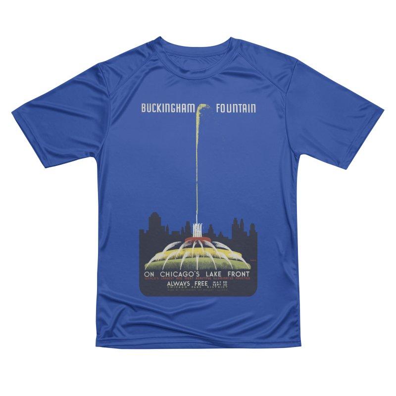 Buckingham Fountain Men's Performance T-Shirt by chicago park district's Artist Shop