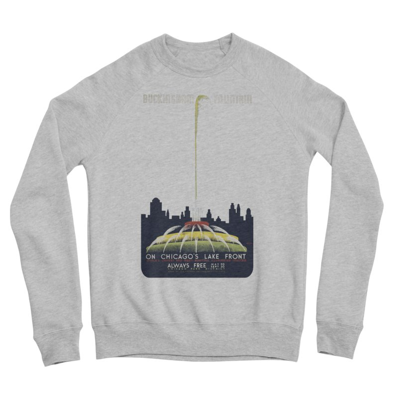 Buckingham Fountain Men's Sponge Fleece Sweatshirt by chicago park district's Artist Shop