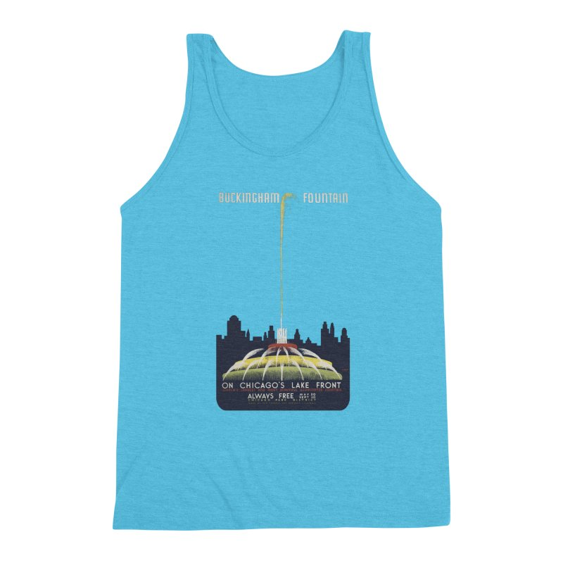 Buckingham Fountain Men's Triblend Tank by chicago park district's Artist Shop