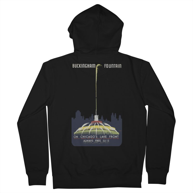 Buckingham Fountain Women's French Terry Zip-Up Hoody by chicago park district's Artist Shop