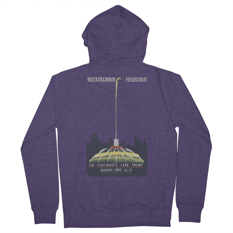 Buckingham Fountain Men's French Terry Zip-Up Hoody by chicago park district's Artist Shop